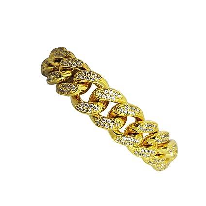 6aea93a83542 LUOEM Elegante pulsera para hombre Hip Hop joyas diamantes de imitación de  cristal Diamantes cubano chapado en oro cadena de enlace collar de 20 cm