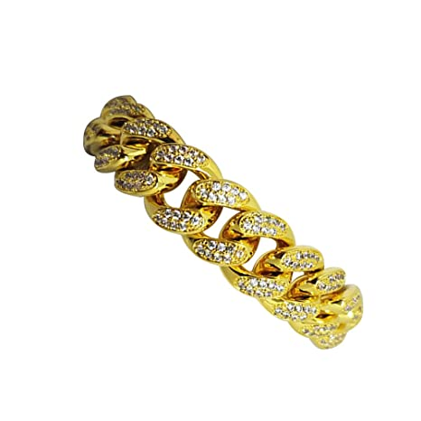 a577b5597f4e LUOEM Elegante pulsera para hombre Hip Hop joyas diamantes de imitación de  cristal Diamantes cubano chapado