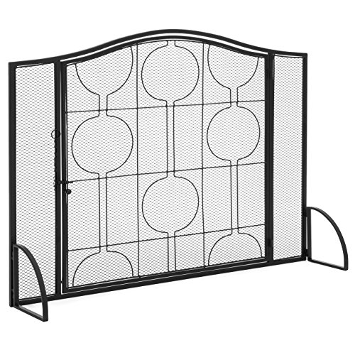 Lowest Prices! Best Choice Products Living Room Steel Fireplace Screen W/Mesh Design & Door