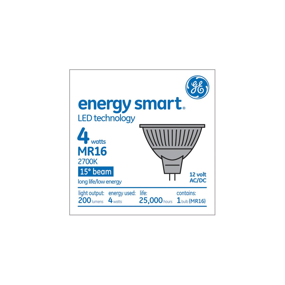 GE Lighting 89945 Energy-Smart LED 7-watt 390-Lumen MR16 Bulb with Medium Base, Warm White, 1-Pack - - Amazon.com