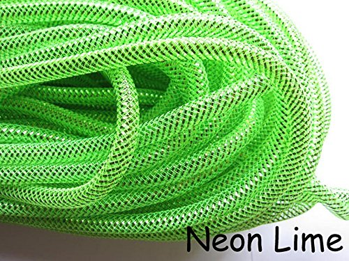 YYCRAFT 15 Yards Solid Mesh Tube Deco Flex for Wreaths Cyberlox Crin Crafts 8mm 3/8-Inch (Lime)