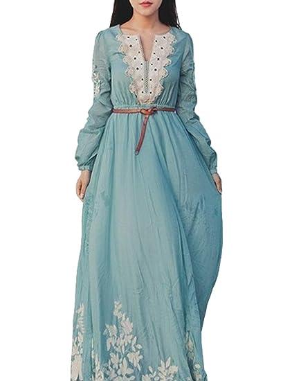 7238a047e33e2 Qianliniuinc Femme Brodé Robe Manche Longue Dentelle Élégant Peignoir  Ancien Art Robes Bleu L: Amazon.fr: Vêtements et accessoires