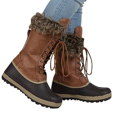 b94085ead60db4 Amazon.com | Gemijack Womens Duck Winter Boots Rain Snow Warm Waterproof  Lace Up Leather Combat Boot | Snow Boots