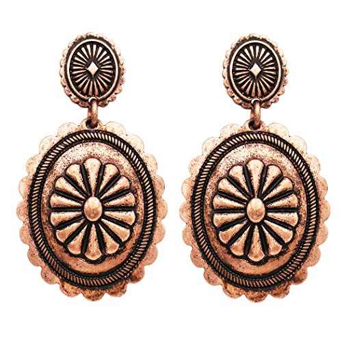 Rosemarie Collections Women's Southwest Jewelry Concho Design Dangle Earrings (Burnished Copper)