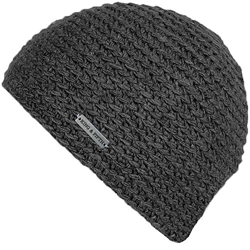 Skull Caps for Men by King & Fifth | Skull Cap + Beanie for Men and Perfect Form Fit + Winter Hats + Grey Skullcap Beanies