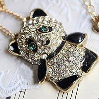 Fashion Womens Full Drill Rhinestone Lovely Cute Panda Long Necklace Pendant