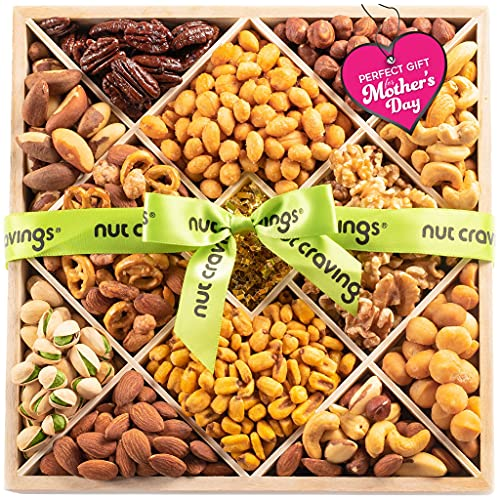 Mothers Day Nut Gift Basket in Wood Tray + Green Ribbon (12 Piece Assortment) - Prime Arrangement Platter, Birthday Care Package Variety, Healthy Food Kosher Snack Box for Mom, Women, Men, Adults