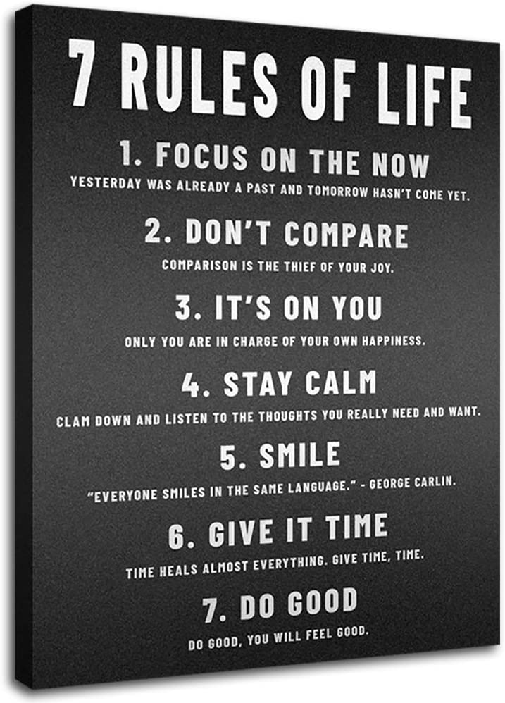 Office Wall Decor 7 Rules of Life Motivational Posters Wall Art for Bedroom Black Art Paintings African American Wall Art Inspirational Canvas Prints Positive Quotes Decor for Teenage Girls Bedroom …