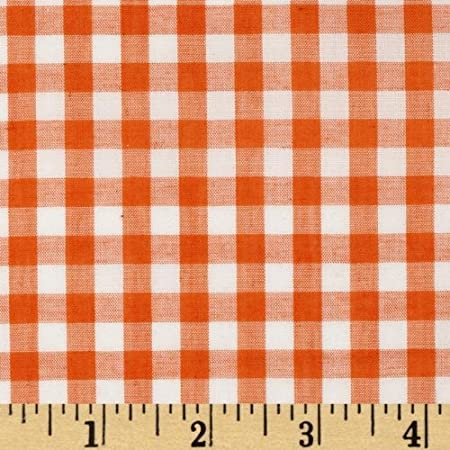 Light Weight Cotton blend fabric. 32 x 28 inches Brown White Gingham Check