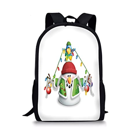 Amazon Com Iprint School Bags Snowman Cartoon Whimsical Character