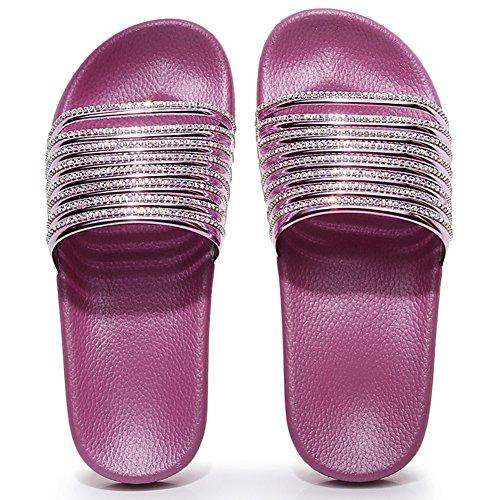mit Strand Pantoletten pink Badeschuhe Gr Strass Flach Damen Zkyo Sommer Bade X 41 Frauen Weiche Blumen 36 Rutschfest Schlappen 1fwYd7qC