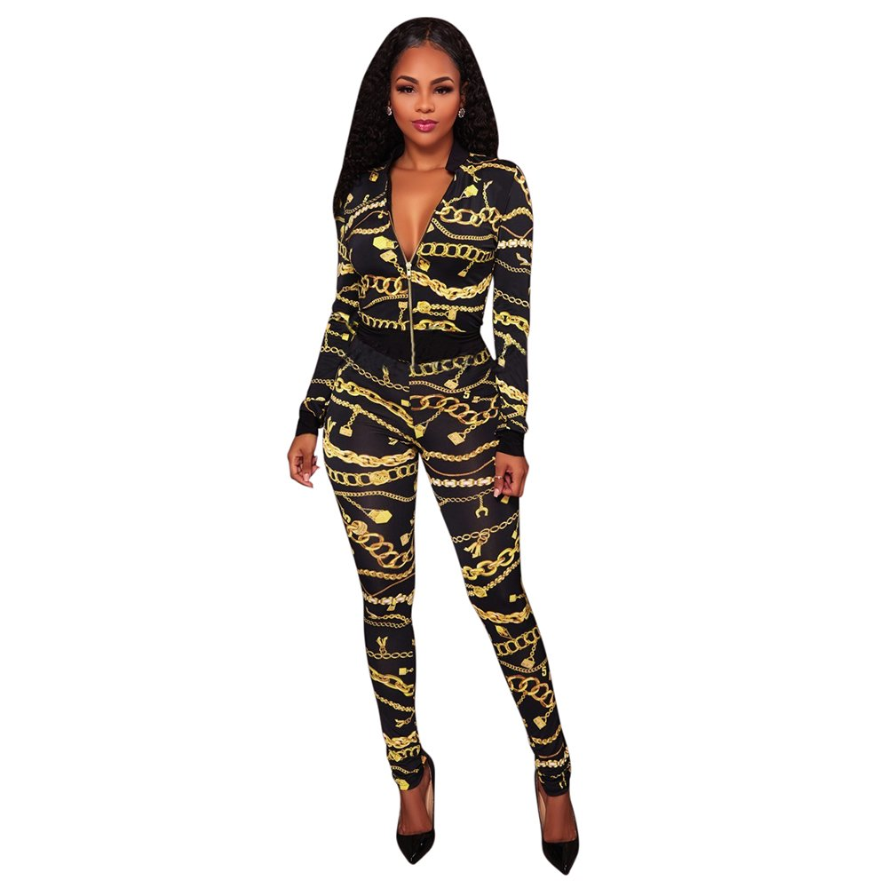 Two Piece Outfits For Women Floral Print Long Sleeve Jacket Suit Bodycon Stretch Long Pants Sweatsuits (S)