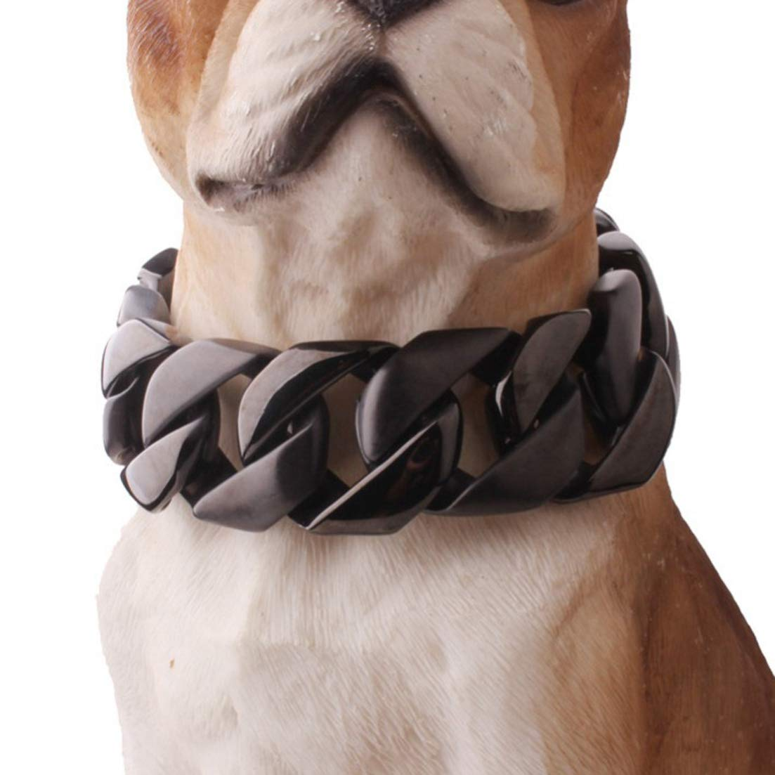 FML PET Premium 316L Stainless Steel Dog Training Choke Collar, 30mm Wide Cuban Chain Necklace for Pit Bull Mastiff Bulldog Big Breeds, Up to 680 lbs Dogs - Black