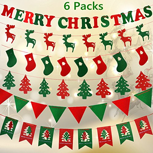 Indoor Reindeer - Fascola 6 Pack of Christmas Banners 15 Ft 6 Types 55 Pieces 2018 Newest Happy Hanging Festival String Flags Trees/Reindeer/Socks/Words for Outdoor&Indoor Christmas Party Decoration Xmas Ornaments