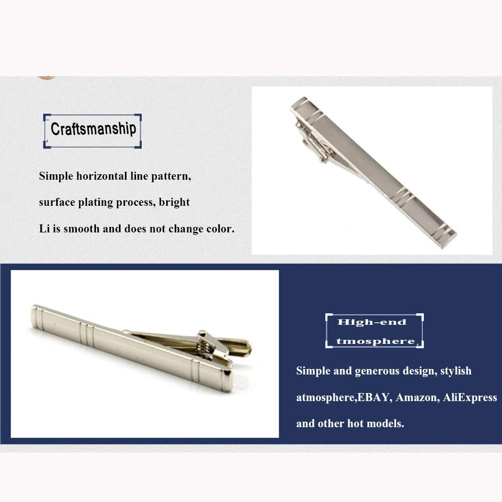 YXCM Clip de Corbata Flaco Unisex Plateado Plata Simple Horizontal ...