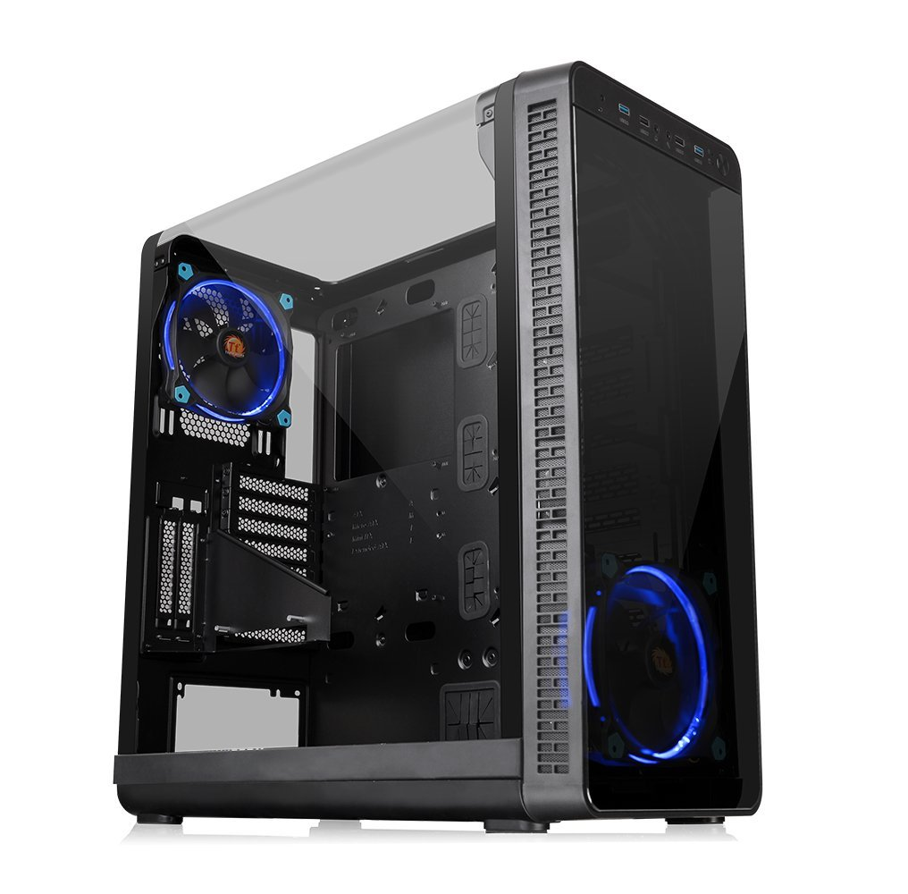 Thermaltake View 37 Riing E-ATX Mid Tower Computer Case with 2 Blue LED Riing Fan Pre-installed CA-1J7-00M1WN-00