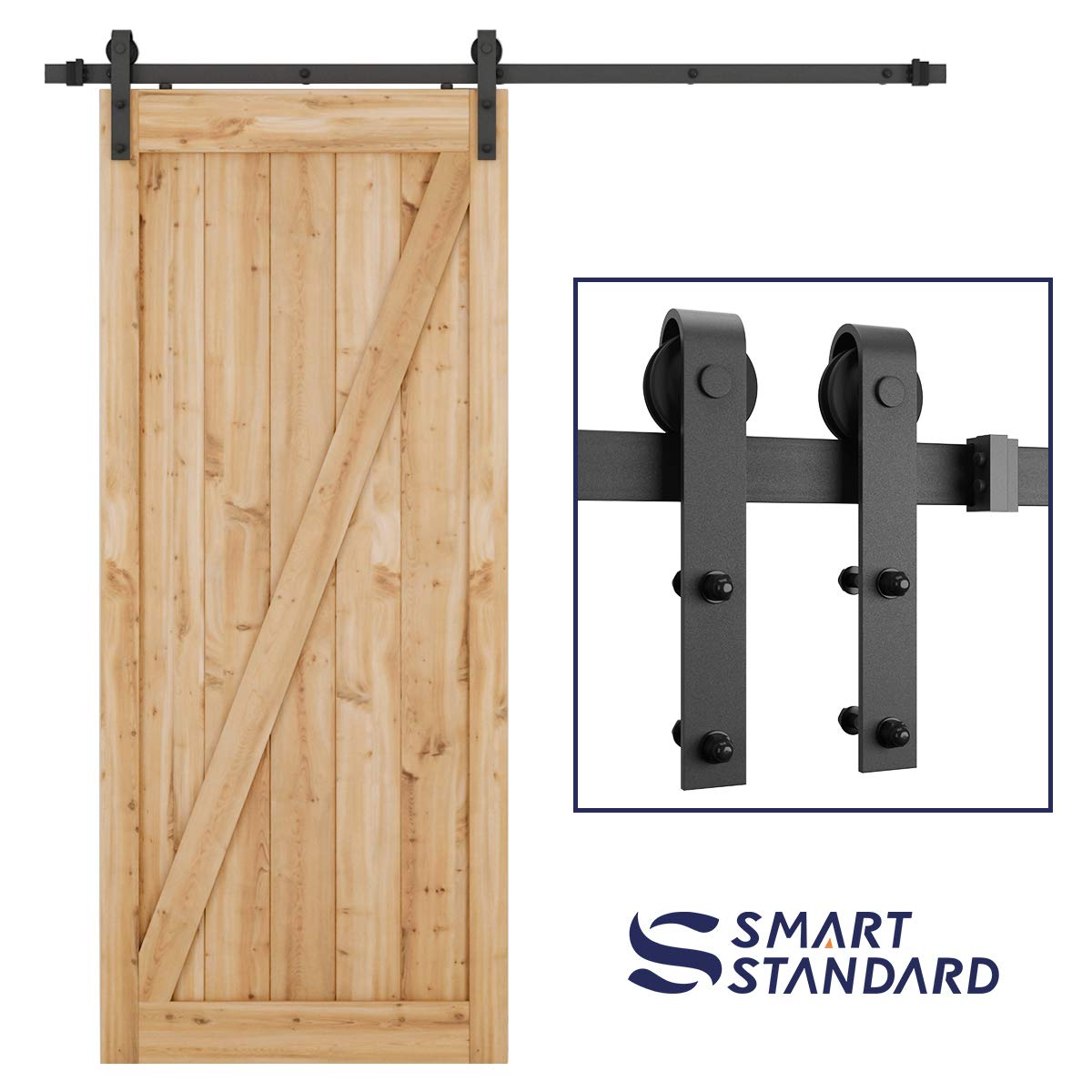 """SMARTSTANDARD 6.6 Foot Heavy Duty Sliding Barn Door Hardware Kit -Smoothly and Quietly -Easy to Install -Includes Step-By-Step Installation Instruction Fit 36""""-40"""" Wide Door Panel (J Shape Hanger)"""