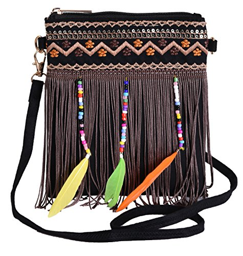 Pulama Embrodiery Crossbody Beaded Fringe Boho Handbag Samll Crossbody Bags Black Beaded Hobo Purse Handbag
