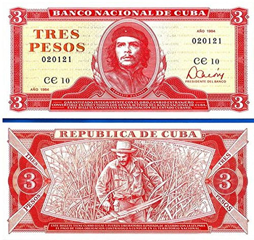 1984 CU FLAWLESS CUBA 3 PESOS w CHE GUEVARA! EARLIEST RAREST TYPE! 3 Pesos Gem Crisp Uncirculated