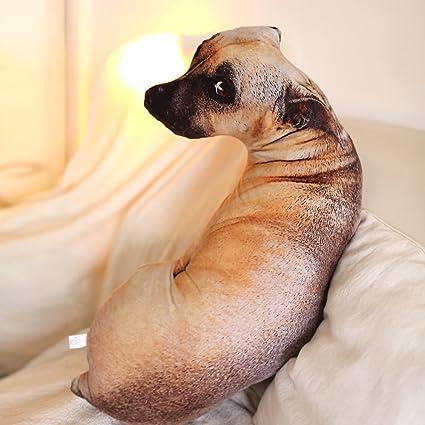 Amazon Com Mkono 3d Dog Shaped Throw Pillow Zoo Animal Soft Plush