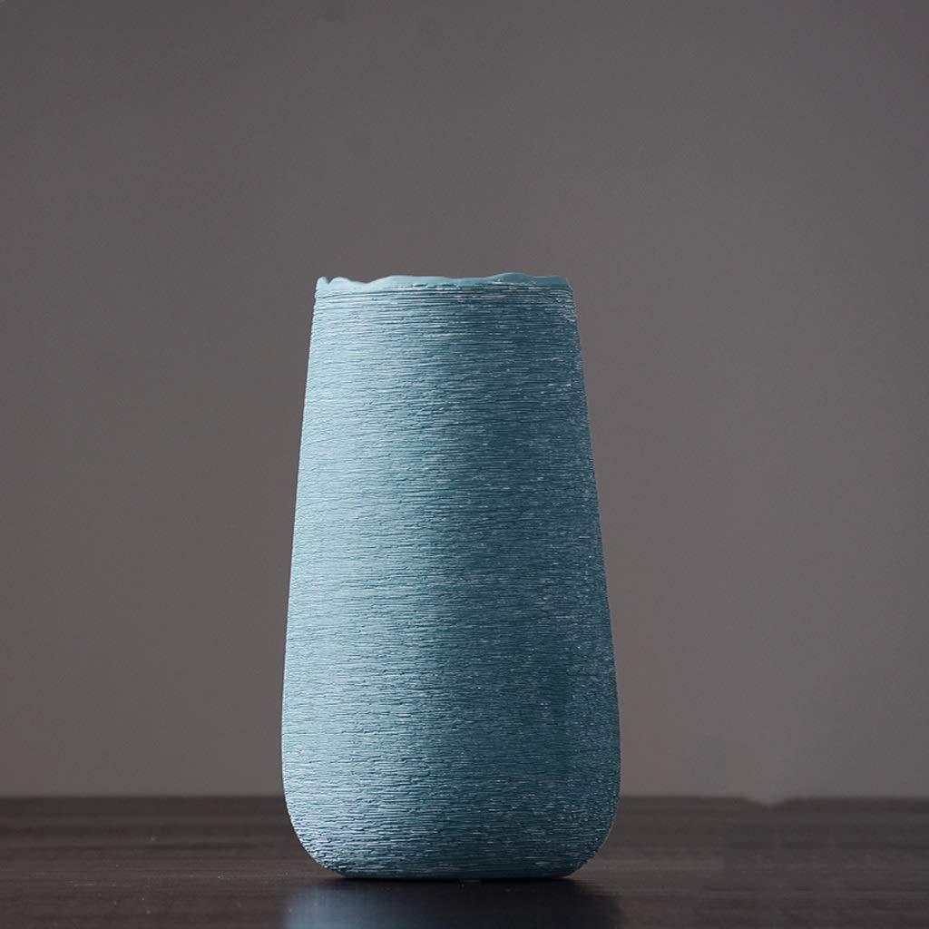 円柱装飾花瓶 HJCA高品質セラミック花瓶花瓶ヨーロッパ現代のミニマリストクリエイティブリビングルームドライフラワー家の装飾の装飾品野生スタイル手描きのセラミックサイズ:高25 CM *直径14 CM 写真円柱装飾花瓶ライフ花瓶フラワーショップブーケボックス (色 : 青) B07S7JMMJB 青