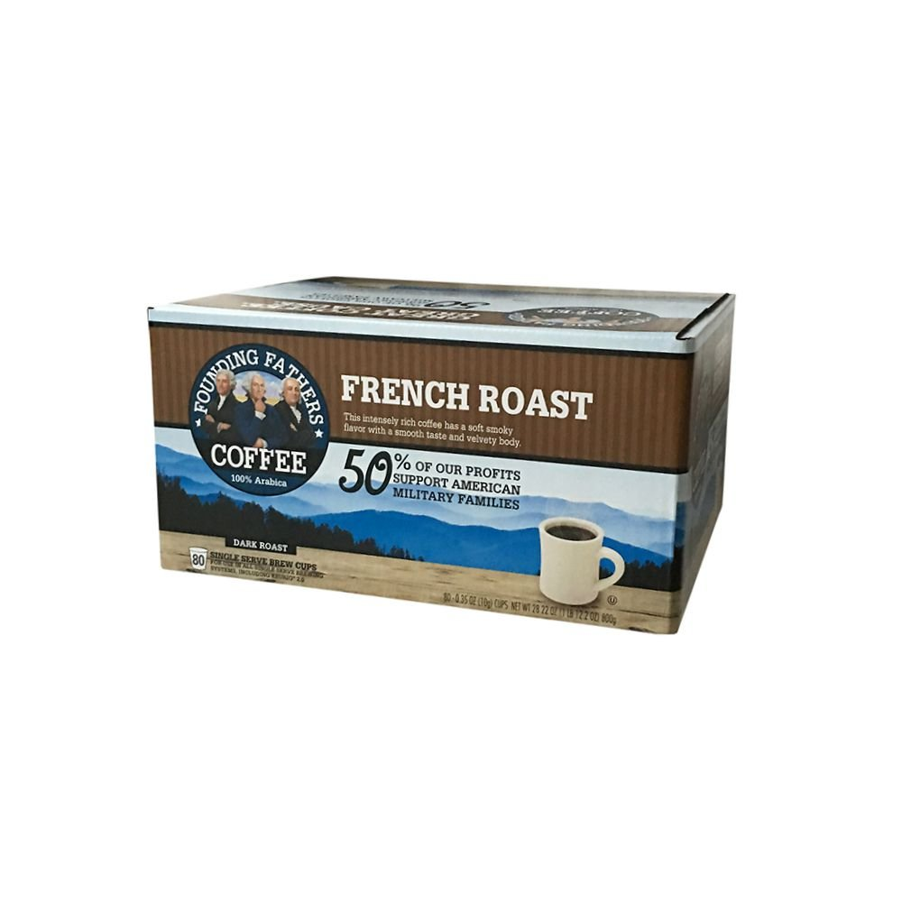 Founding Fathers Coffee, French Roast Single Serve K-Cup, 80 Count (Compatible with Keurig 2.0) by Founding Fathers Co.