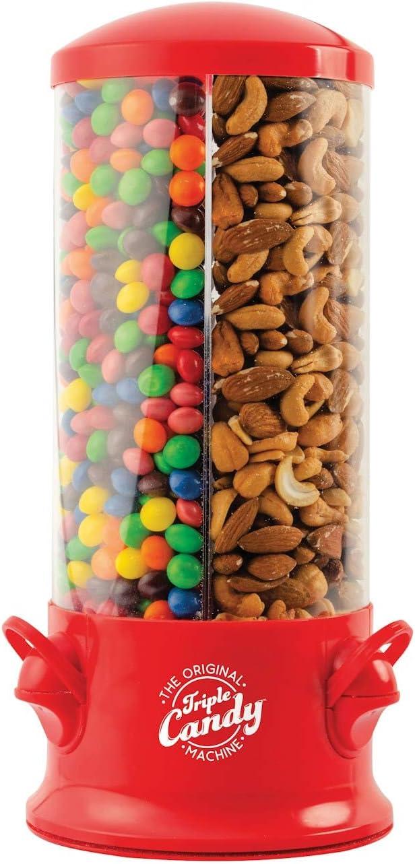 Handy Gourmet Original Triple Candy Machine-Fun Candy & Nut Dispenser-New & Improved (Red), Standard