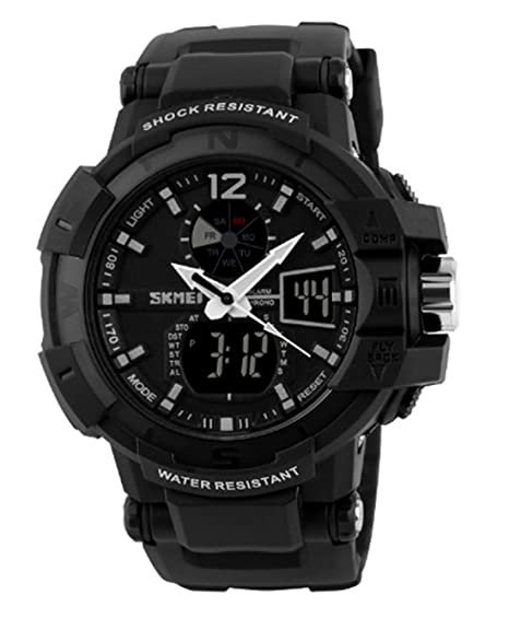 Amazon.com: Big Black Mens Digital Sports Dual Time Zone Watches Rubber Strap Watches for Male Outdoor Watches: Watches