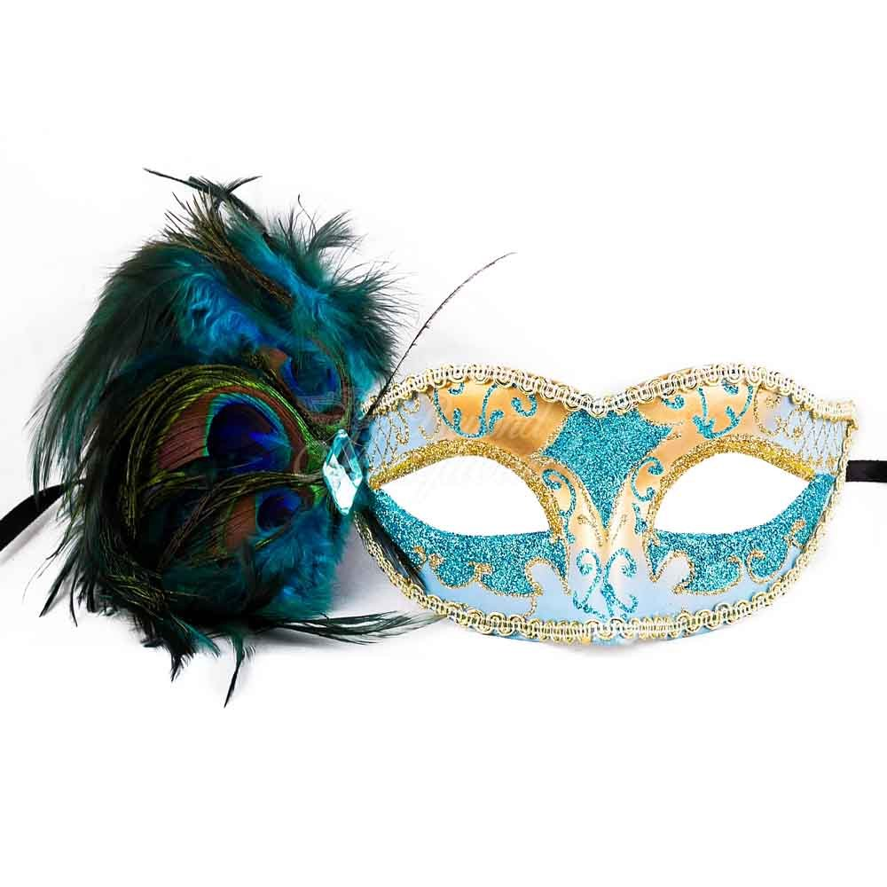 Teal Blue Teal Sky Blue Peacock Masquerade Mask Party Mask Women's Mask