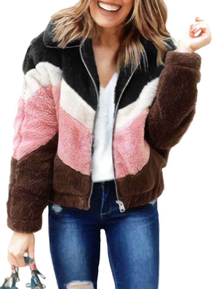 Leepus Women Warm Fluffy Coat Fleeces Zipper Pockets Sweatshirt Winter Casual Tops Outwear Army Green by Leepus