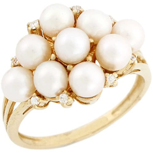10k Solid Gold Nine Freshwater Cultured Pearl CZ Cluster Ring Jewelry
