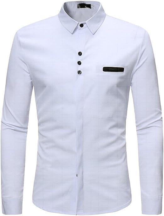 Sunnyuk Camisa De Vestir De Negocios para Hombres Color Sólido Clásico Manga Larga Slim Camisas Casuales Camisa De Vestir: Amazon.es: Deportes y aire libre