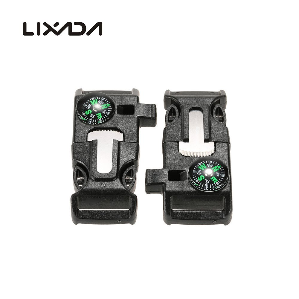 Lixada 10PCS Plastic Whistle Quick Release Buckle Flint Fire Starter for Paracord Bracelet Outdoor Camping Emergency