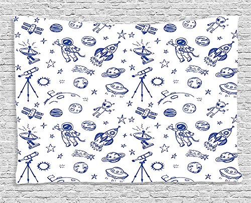Apartment Collection Original Outer Space Featured Celestial Planetary Solar System Properties Ufo Graphic Blue White Supersoft Throw Fleece Blanket 49.21x78.74 Inches