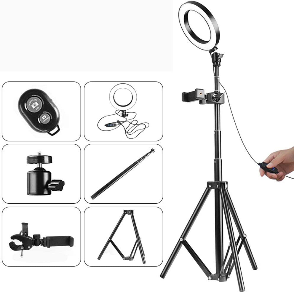 Misszhang-US Universal 1//4 Thread Telescopic LED Ring Fill Light Selfie Tripod Stick Lamp Pink