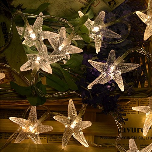 Nascco 20 LED Starfish Battery Operated Warm White String Lights for Beach Patio Garden Lawn For Sale