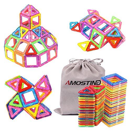 AMOSTING Magnetic Toys Building Tiles Blocks Stack Set - 64 pcs - Magna Tiles