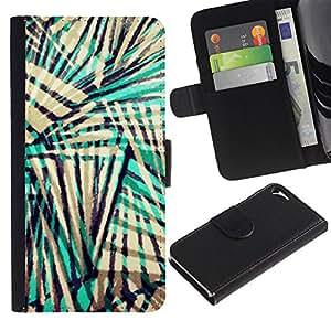 UberTech / Apple Iphone 5 / 5S / Stripes Abstract Colors Beige Black Teal / Cuero PU Delgado caso Billetera cubierta Shell Armor Funda Case Cover Wallet Credit Card