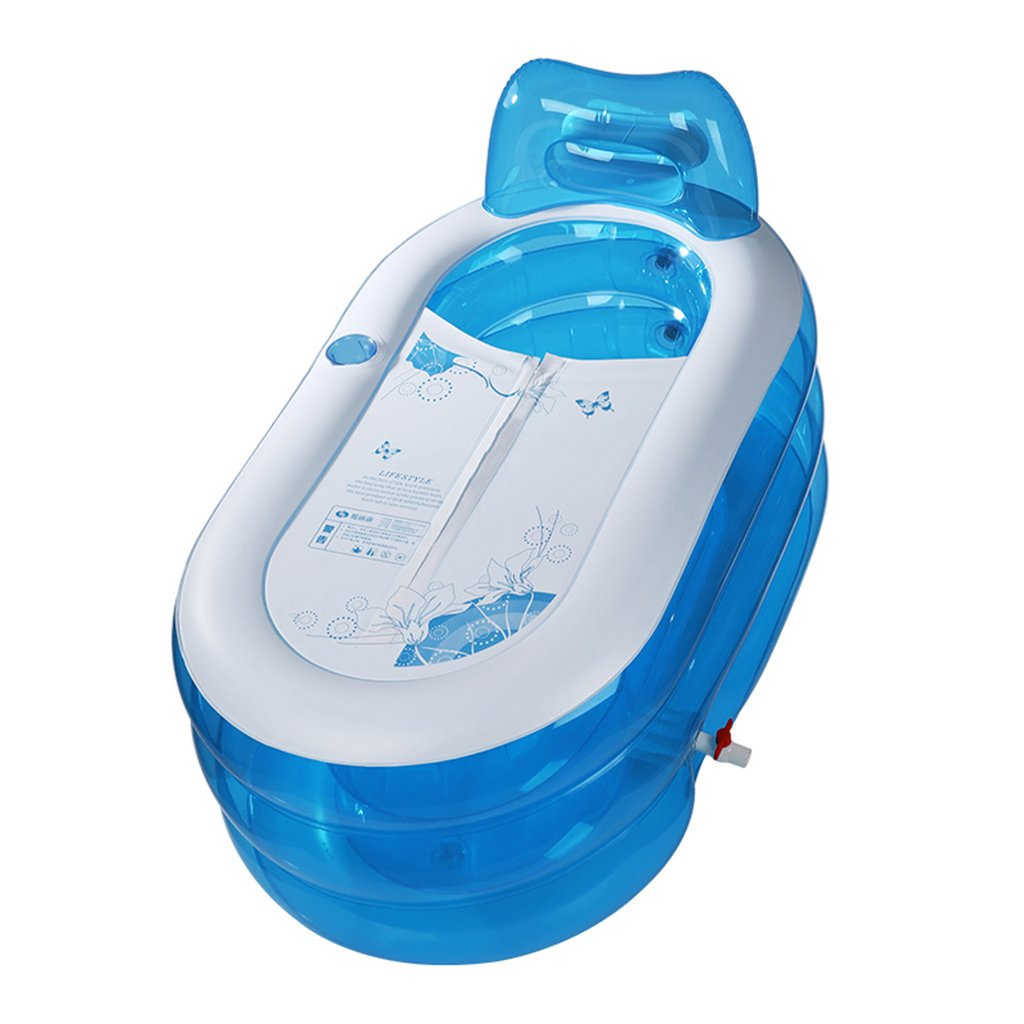 Adult / child fold Transparent plastic Inflatable bathtub Double drain Thickening independent Three layers Inflated Bath barrel Bath tub blue 130 70 70cm