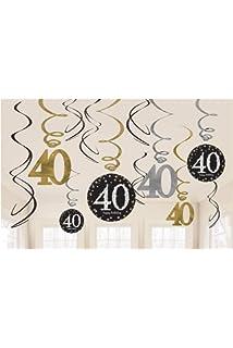 12 pcs Multi Color amscan 670478 Party Supplies Sparkling Celebration 30 Value Pack Foil Swirl Decorations