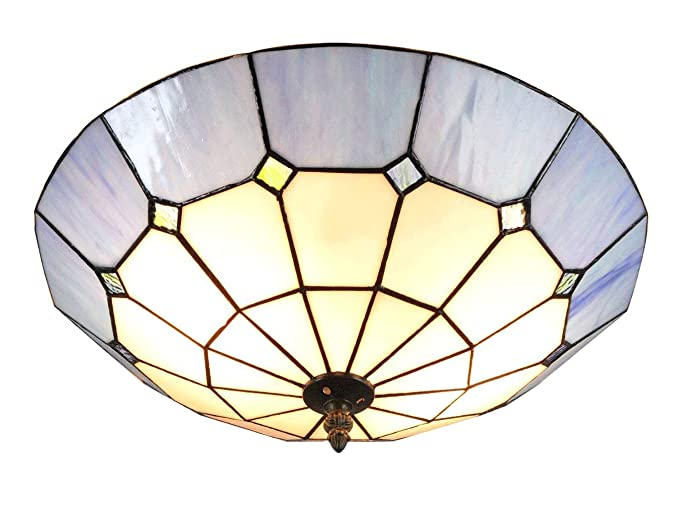 16 Inch European Retro Style Tiffany Blue Stained Glass Flush Mount Ceiling Light  Dining Room