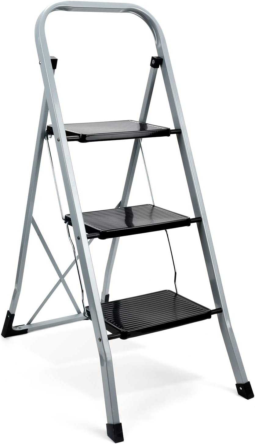ACKO Black 3 Step Ladder Folding Step Stool Ladder with Handgrip Anti-Slip Sturdy and Wide Pedal Multi-Use for Household and Office Portable Step Stool Steel 330lbs White (3 feet Black)