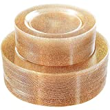 WDF 120PCS Gold Plastic Plates- Disposable Gold Glitter Plates, Premium Heavy Duty 60-10.25'' Dinner Plates and 60-7.5'' Salad Plates for Parties &Wedding