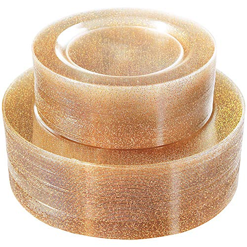 WDF 120PCS Gold Plastic Plates- Disposable Gold Glitter Plates, Premium Heavy Duty 60-10.25