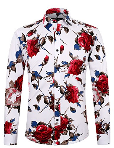 APTRO Men's 100% Cotton Floral Shirt Long Sleeve Flower Shirt DZCX #1925 XL (Western Show Shirts Men)