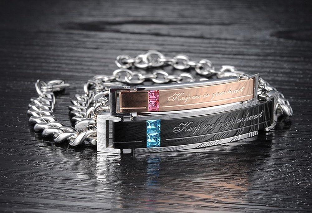 Anniversary Christmas Valentine Gift Wrist Bracelet Wedding Couples Bracelet Flongo His Hers Romantic Stainless Steel Keep me in Your Heart Blue Rhinestone Engagement Bracelet