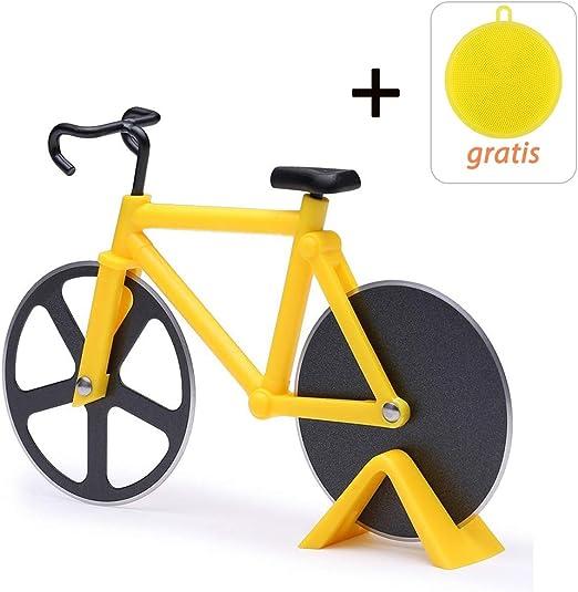 Cortador Pizza Bicicleta, Rebanador de pizza Doble de acero ...