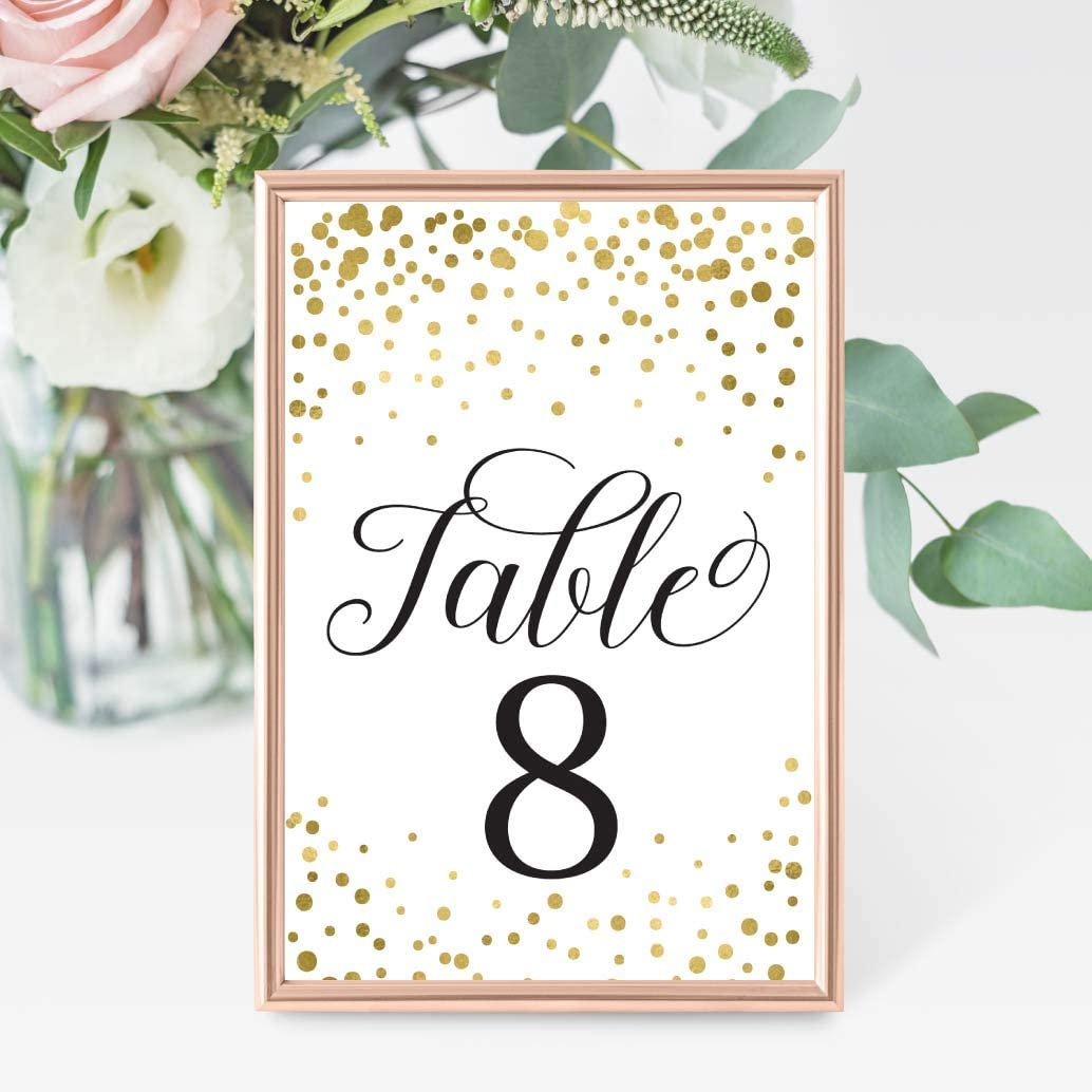 1-25 Gold Glitter Table Number Double Sided Signs for Wedding Reception, Restaurant, Birthday Event, Calligraphy Printed Numbered Card Set Centerpiece Decoration Setting Reusable Frame Stand 4x6 Size: Home & Kitchen