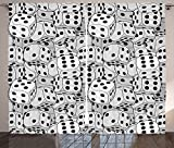 Casino Decorations Collection The Dices Close Up Abstract Monochromatic Chaotic Crowded Gaming Houses Print Living Room Bedroom Curtain 2 Panels Set Gray and Black