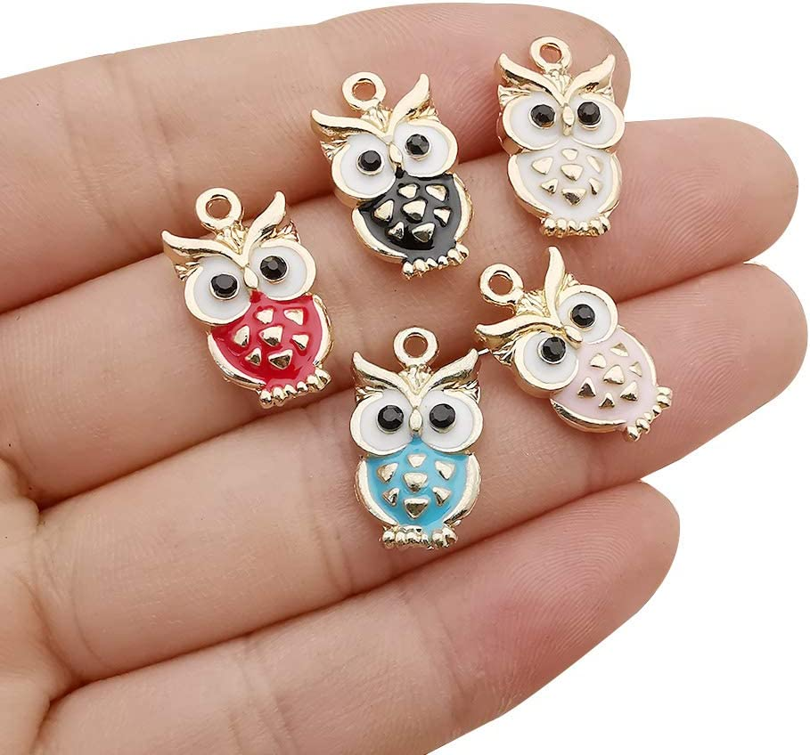 WOCRAFT 20 pcs Gold Plated Enamel Flower Cat Charms Pendant for Jewelry Making Necklace Bracelet Earring and Slime DIY Jewelry Accessories Charms M451